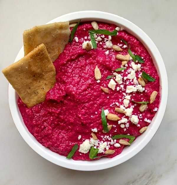 Snacks like roasted beet hummus allow you to always have a vegan-friendly snack in between meals