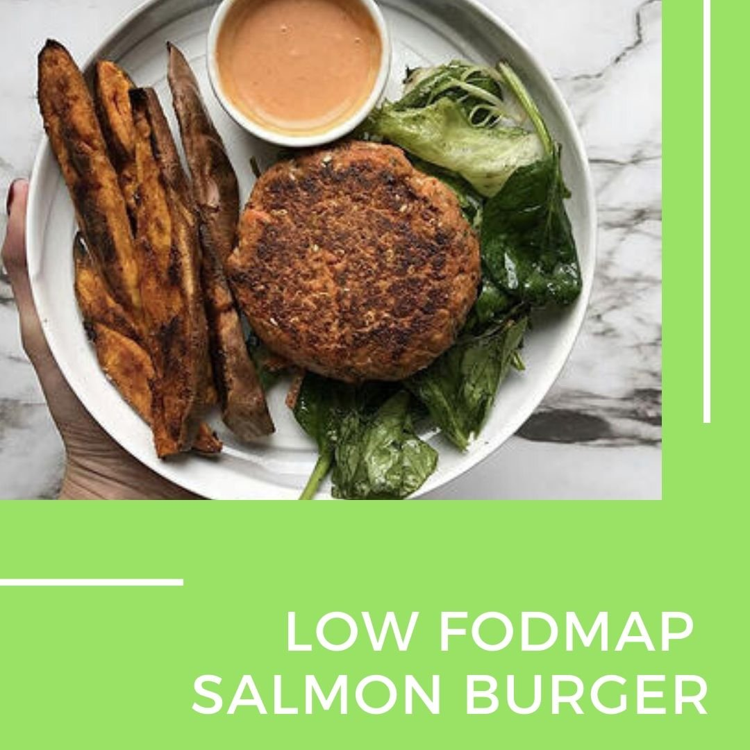 Low fodmap salmon burger
