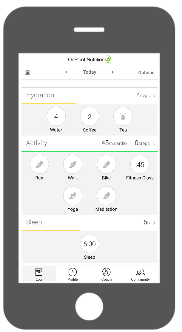 Real time tracking using the OnPoint Nutrition app helps make reaching your goals a reality