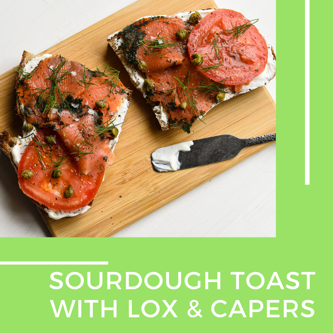 Sourdough toast with lox and capers