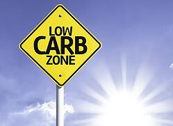 Low Carb Zone road sign with sun background-1