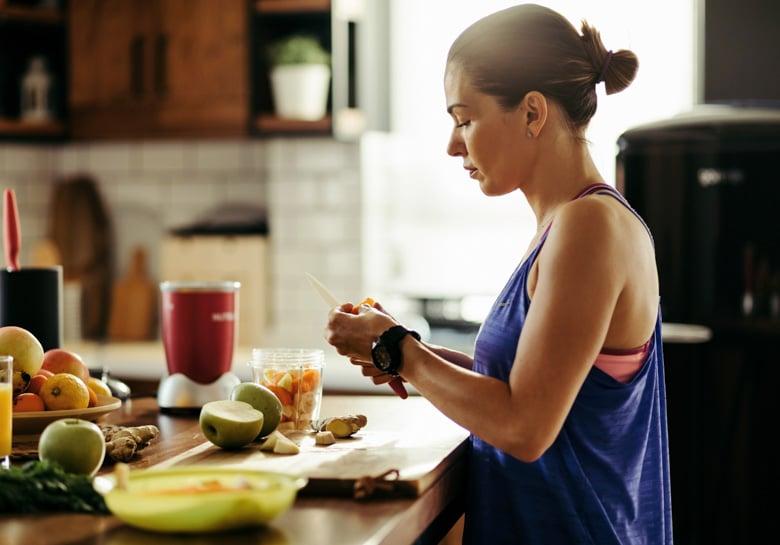 woman prepping fruit