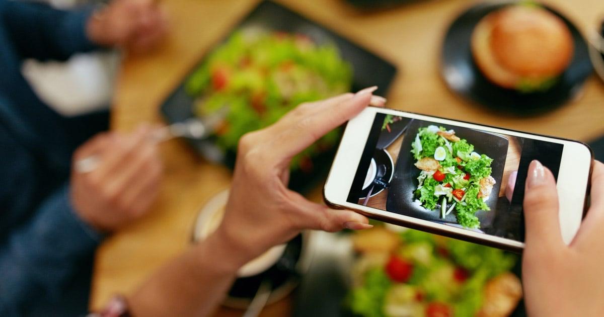 smartphone shot of salad