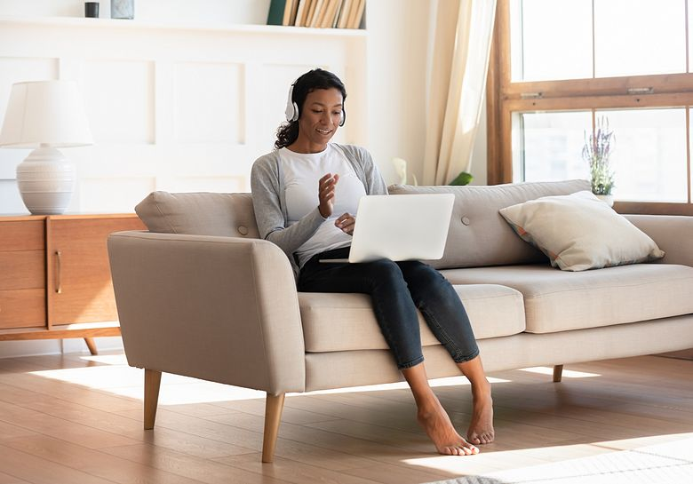 woman on call in living room